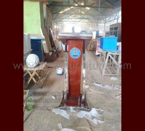 Mimbar Podium Minimalis Stainless Kayu Jati Solid Pesanan BNN Jakarta