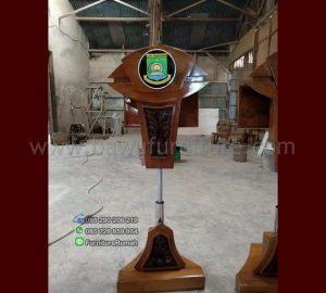 Podium Jokowi Minimalis Stainless Hidrolic Jati Jepara