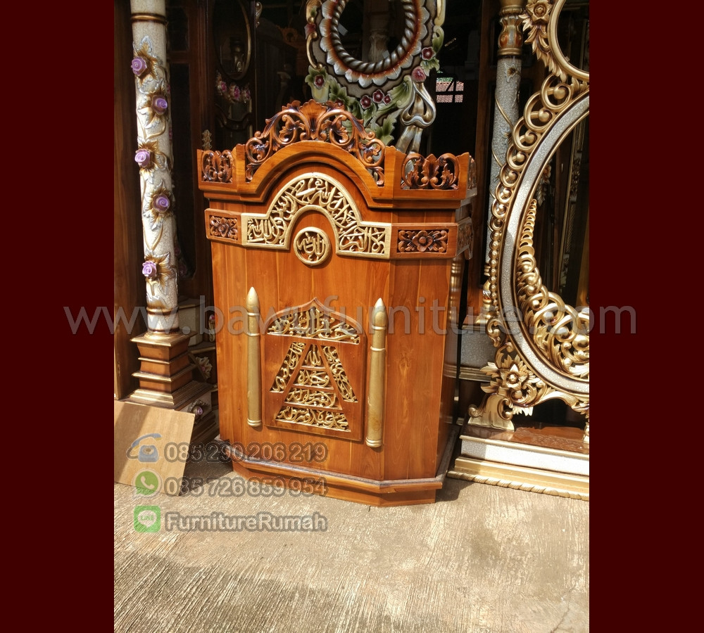 Podium Mimbar Masjid Jati Natural Ready Stock