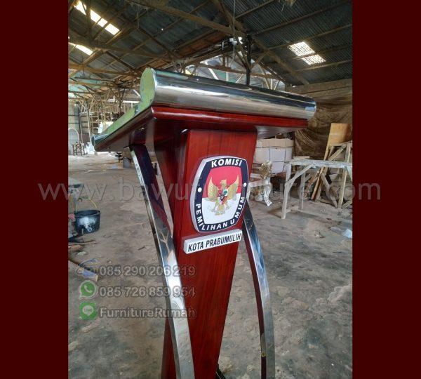 Podium Stainless Steel Minimalis Jati Jepara