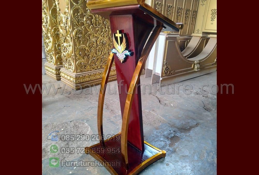 Mimbar Gereja Modern Jati Mewah Kombinasi Stainless Gold
