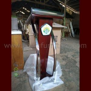 Podium Stainless Minimalis Siap Kirim Logo Mts Gresik